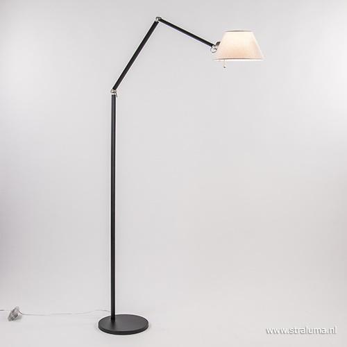 Zwarte vloerlamp met verstelbare arm