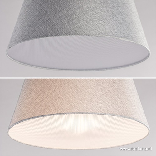 Moderne booglamp met grijze kap