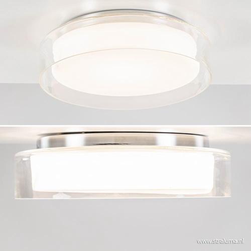 Moderne plafondlamp chroom met opaal glas