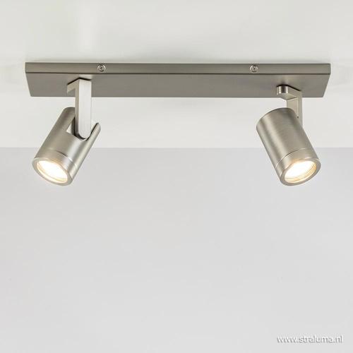 Plafondspot 2-licht op balk nikkel gu10