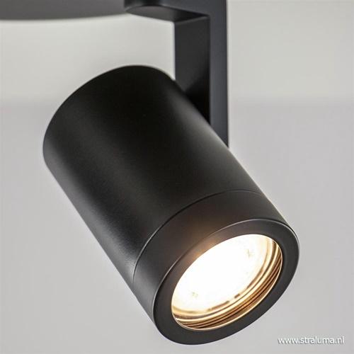 Moderne 2-lichts plafondspot rond mat zwart