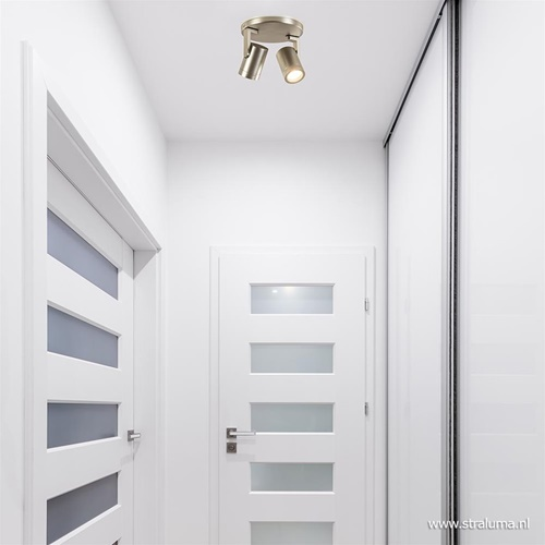 Strak klassieke plafondspot nikkel rond GU10