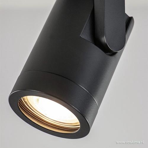 Plafondspot rond enkel zwart ex.gu10
