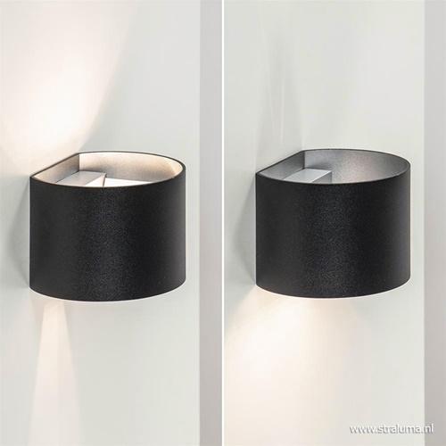 Wandlamp afgerond zwart/grijs stelklep g9
