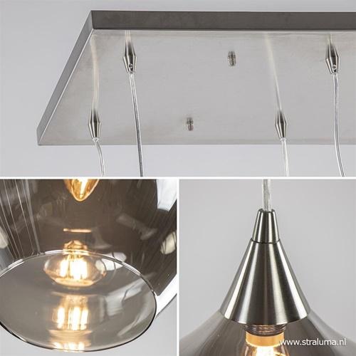 Eettafelhanglamp nikkel met smokey glas 8-lichts