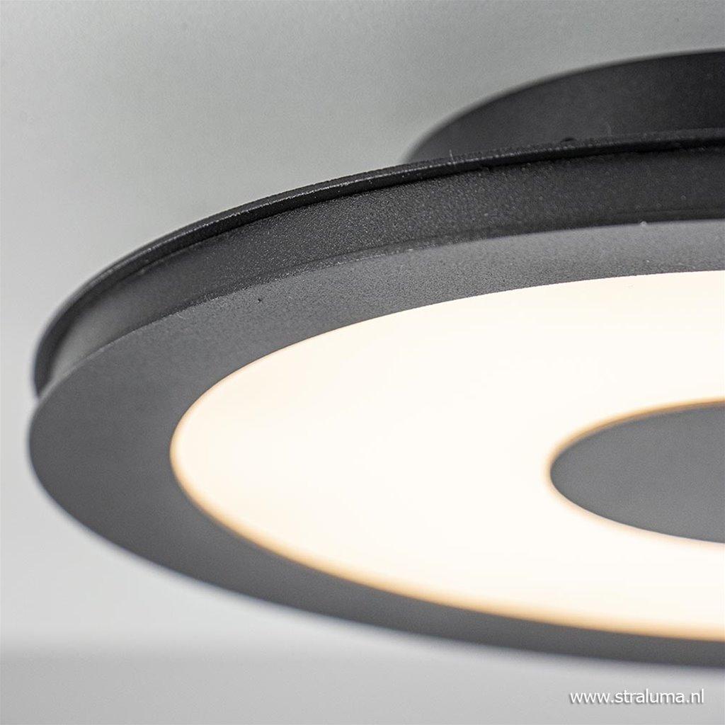 **Plafondlamp disc 26cm zwart 3-step dim