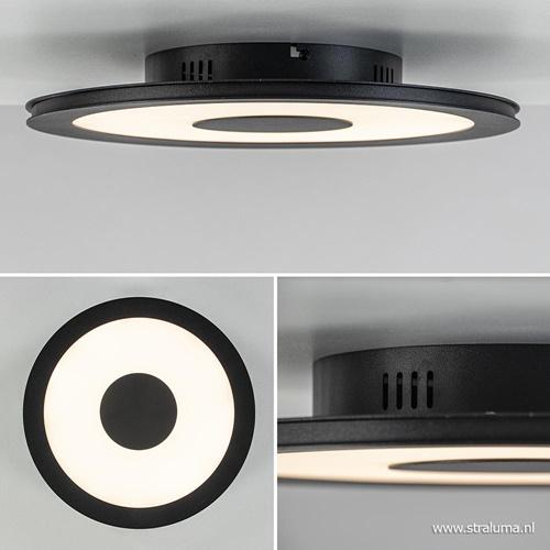 Plafondlamp zwart rond 38cm 3-st.dim.