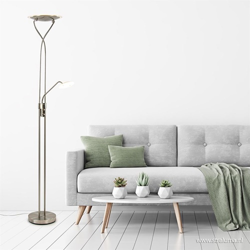 Nikkel vloerlamp met LED uplighter en leeslamp
