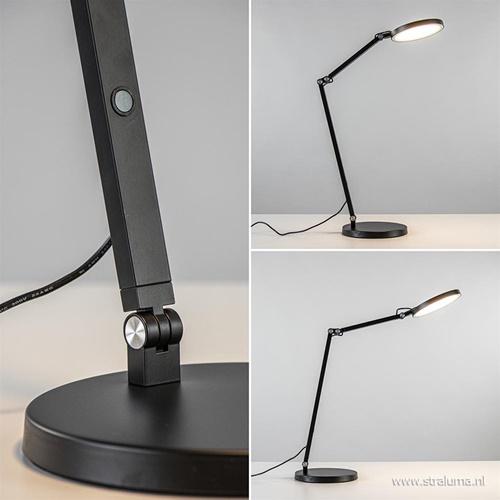 Moderne tafel/bureaulamp zwart met dimbaar LED