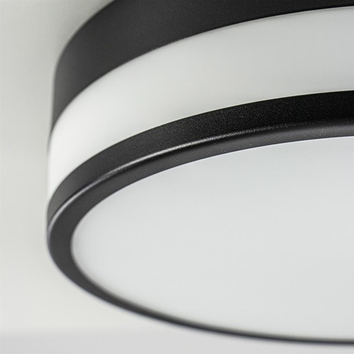 Plafonnière zwart/opaal glas 3-step dim IP44