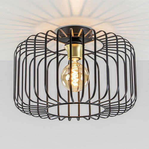 Plafondlamp draad cilinder zwart/brons