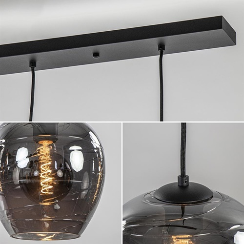 Hanglamp balk zwart 5-lichts smoke glas