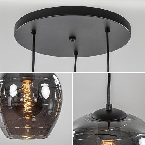 Moderne 3-lichts hanglamp smoke glas met zwart