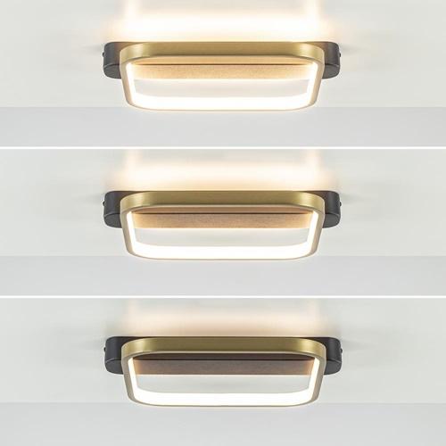 Vierkante LED plafondlamp zwart met goud