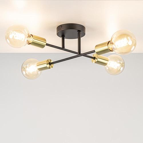 Plafondlamp Sticks 4L zwart/goud
