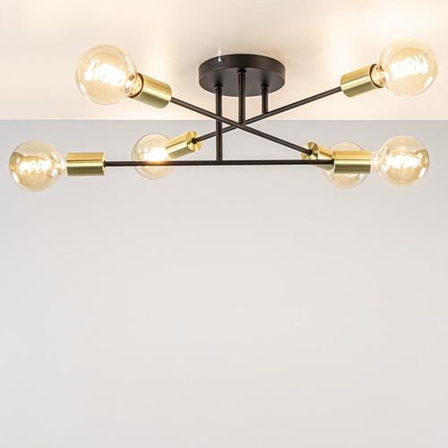 Verstelbare 6-lichts plafondlamp zwart met goud