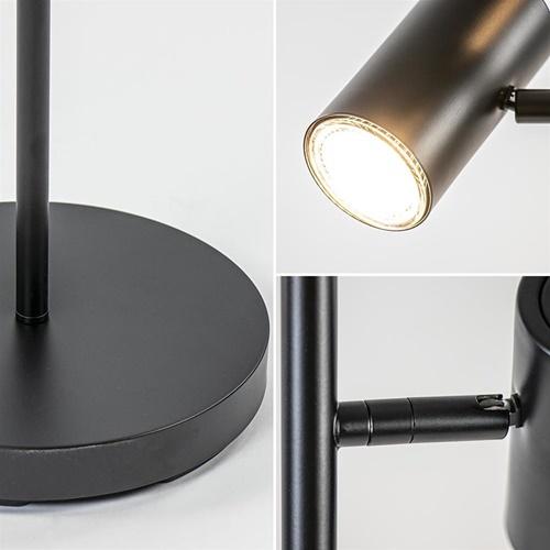 Moderne vloerlamp zwart met verstelbare LED spots