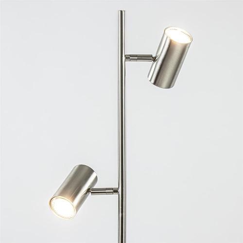 2-Lichts vloerlamp nikkel met dimbare spots