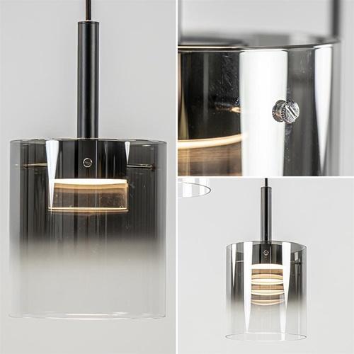 5-Lichts ronde hanglamp zwart met titanium/helder glas