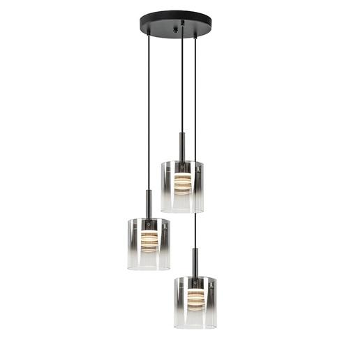 Chique 3-lichts hanglamp rond met glazen kappen