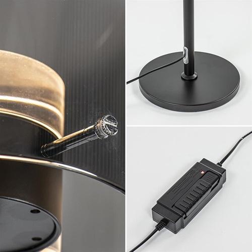 Mat zwarte LED vloerlamp met glazen kap helder/titanium