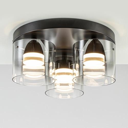 Plafondlamp Salerno 3L zwart/smoke glas