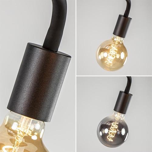 5-Lichts plafondlamp mat zwart met flexibele armen