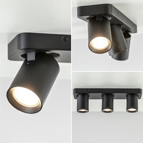 Langwerpige opbouwspot 3-lichts verstelbaar zwart