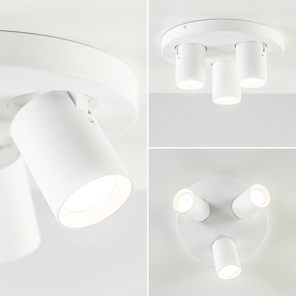 Ronde 3-lichts opbouwspot mat wit