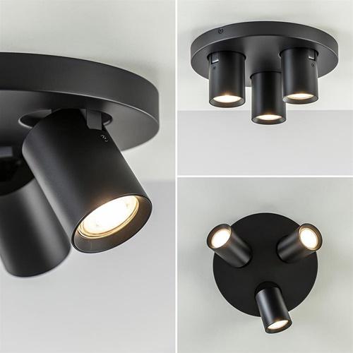 Plafondspot 3L rond tube zwart gu10