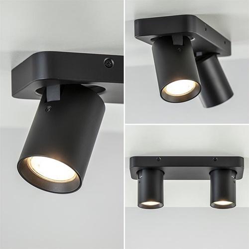 Plafondspot Oliver 2L zwart balk+tubes