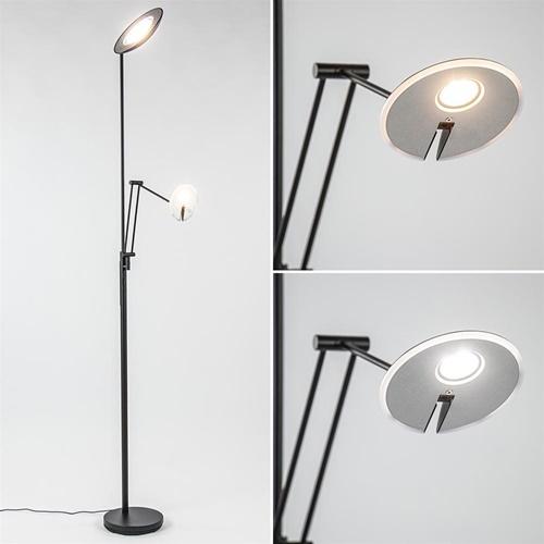Moderne LED uplighter met leeslamp zwart verstelbaar