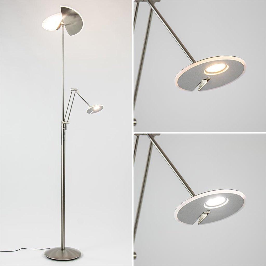Moderne LED vloerlamp nikkel met uplighter en leeslamp