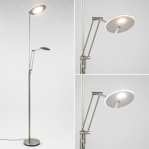 LED uplighter met verstelbare leesarm nikkel