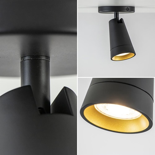 Plafondspot mat zwart met goud verstelbaar