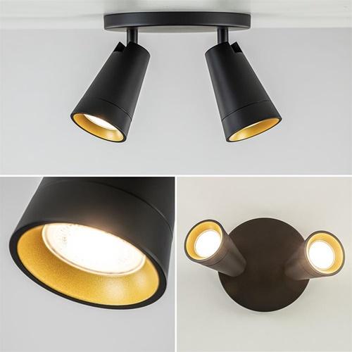 2-Lichts ronde opbouwspot mat zwart met goud accent