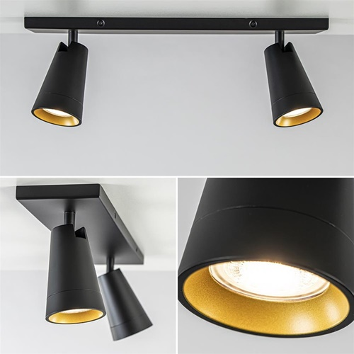 2-Lichts verstelbare plafondspot zwart met goud