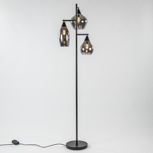 Zwart metalen vloerlamp met titanium glazen kappen