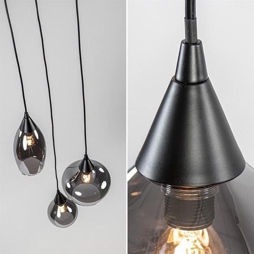 Hanglamp 3L rond zwart smoke glas