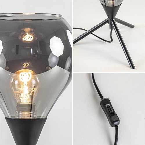Kleine tafellamp driepoot met titanium glas