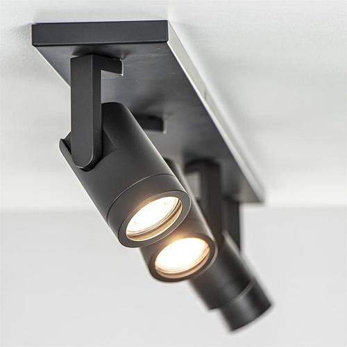 4-Lichts opbouwspot mat zwart verstelbaar