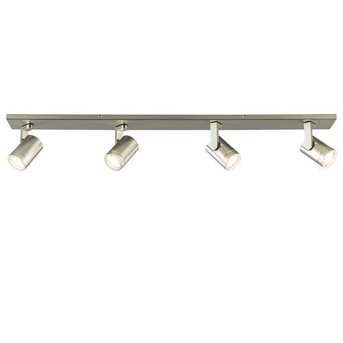 Langwerpige plafondlamp nikkel met verstelbare spots