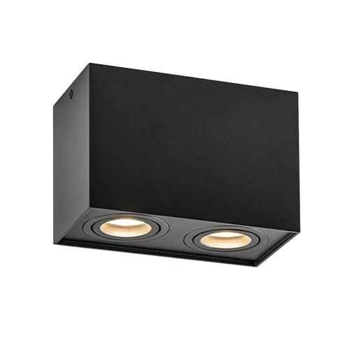 Rechthoekige 2-lichts opbouwspot GU10 zwart