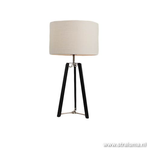 Design tafellamp zwart staal incl. kap