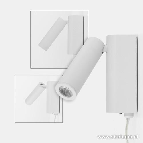 led bedlampje wit verstelbaar met snoer straluma