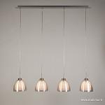 Moderne eettafelhanglamp 4-lichts zilver