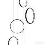 LED vide hanglamp zwart met ringen