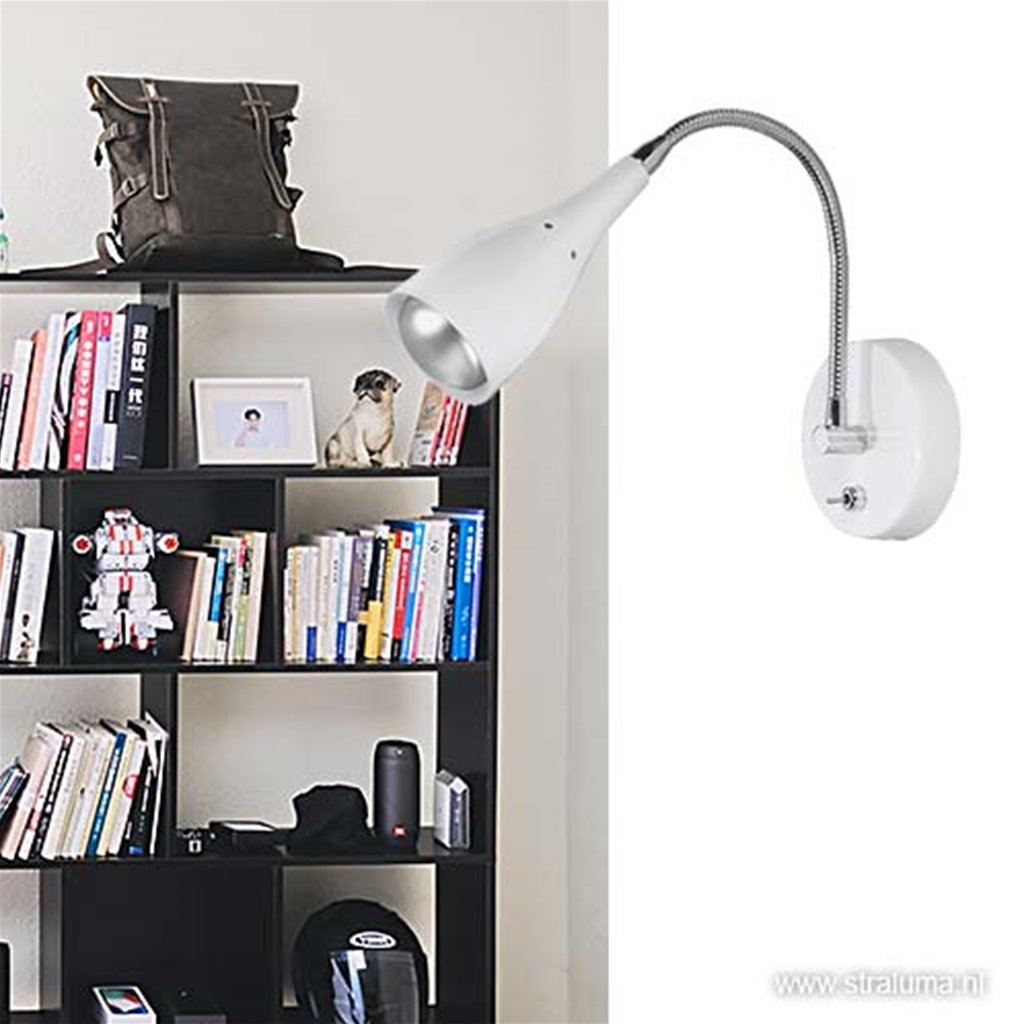 Wandlamp Elite verstelbaar nikkel wit