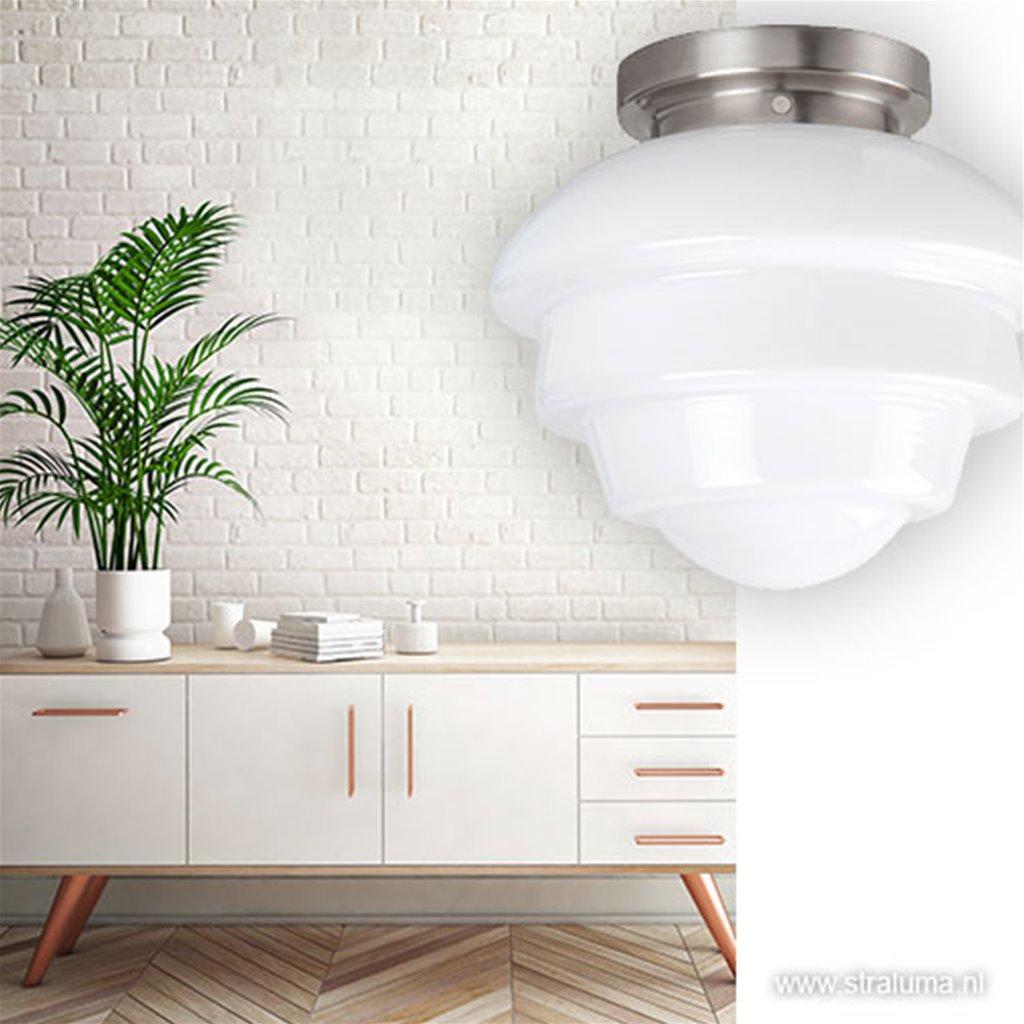 Plafondl. nikkel wit glas, keuken-hal