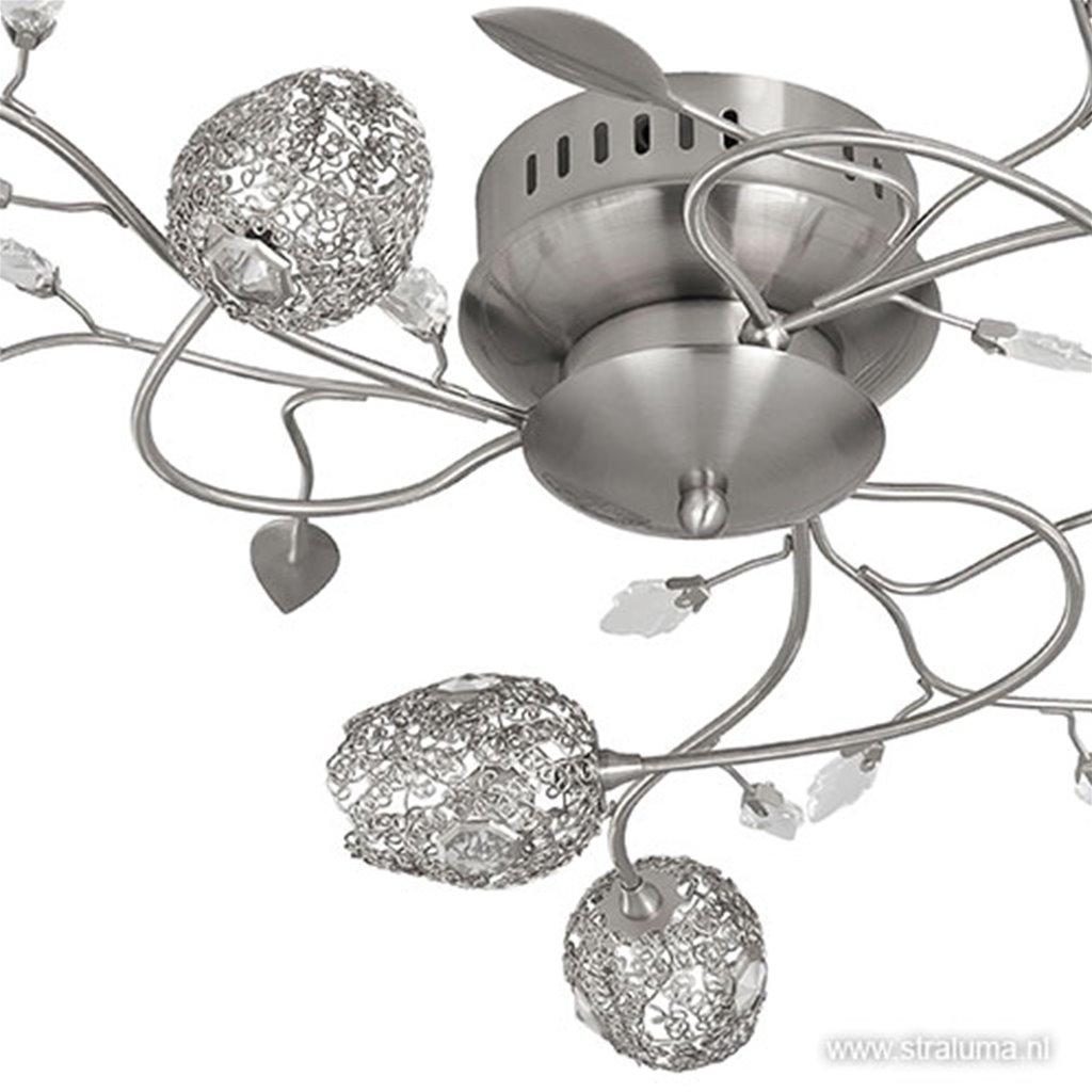 Plafonnière Toscane bloem nikkel, glas